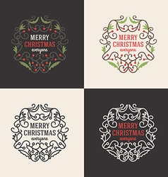 Set of christmas floral decorative greetings with vector