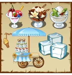 Tasty ice cream and outdoor table on wheels vector
