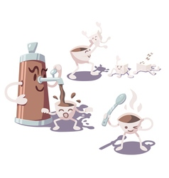 Adventures of coffee cup vector