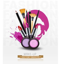 background with cosmetics and make-up objects vector image