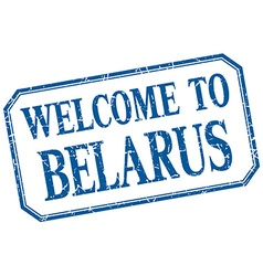 Belarus - welcome blue vintage isolated label vector