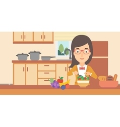 Woman cooking vegetable salad vector