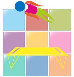 Sport icon for gymnastics on trampoline vector