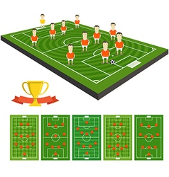 Soccer team clip-art with different strategy vector