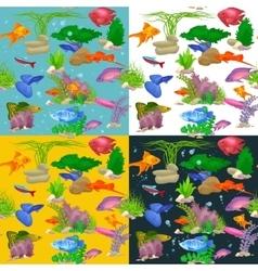 Aquarium fish seaweed underwater pattern vector image vector image