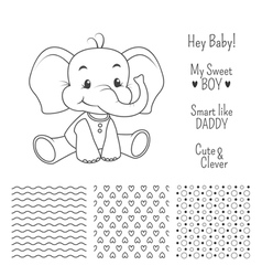Baby elephant outline design with seamless pattern vector image vector image