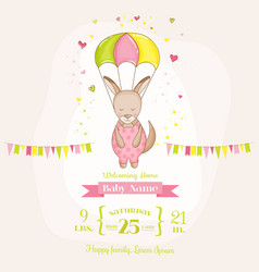 baby girl kangaroo flying with a parachute vector image vector image
