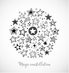 Card with doodle sketch stars in circle on white vector