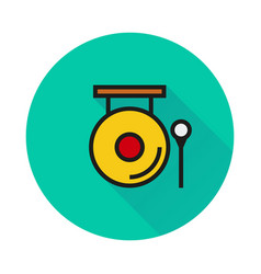 Chinese gong hammer icon on round background vector
