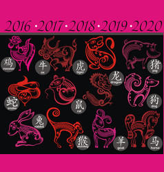 chinese zodiac signs vector image