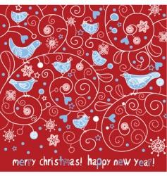 Christmas card with birds vector