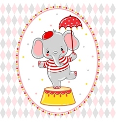 Circus happy birthday card design vector image
