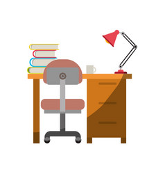 colorful graphic of desk home with chair and books vector image vector image
