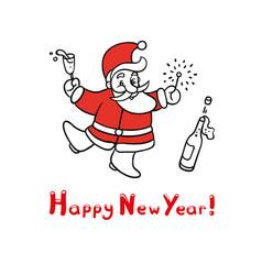 cute sketch of funny santa vector image