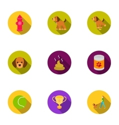 Dog equipment set icons in flat style big vector