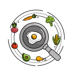 Egg with skillet pan and vegetables and fruits vector