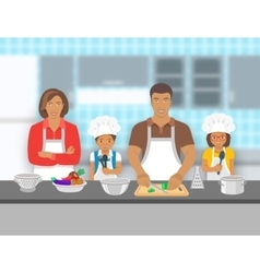 Family with kids cooking together at kitchen flat vector image