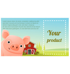 farm animal and rural landscape with pig vector image vector image