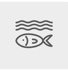 Fish under water thin line icon vector image vector image