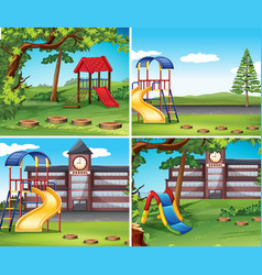 Four scenes with playground vector