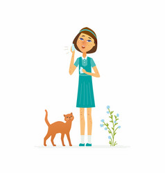 girl with a rash - cartoon people characters vector image