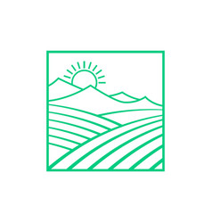 green fields and mountains with sun vector image