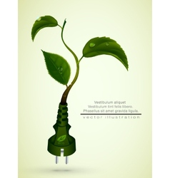 green plug with leaves and planet vector image