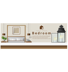 interior design with table top and modern bedroom vector image vector image