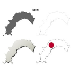Kochi blank outline map set vector image vector image