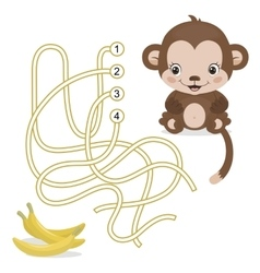 Maze game for preschool children with monkey and vector