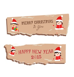 merry christmas and happy new year paper dripper vector image