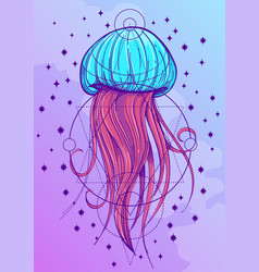 Most jellyfish posterin the style of pastel goth vector