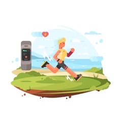 Runner scamper runs at coast vector image
