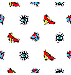 Seamless pattern with fashionable patch badges set vector