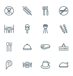 Set of 16 restaurant icons includes closed vector