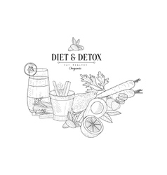 Set Of Detox Vegetarian Food Hand Drawn Realistic vector image vector image