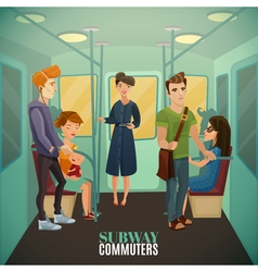 Subway commuters background vector