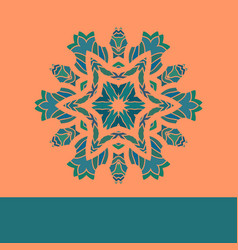 Vintage mandala pattern retro green on vector