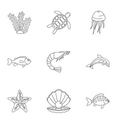 water wildlife icons set outline style vector image vector image