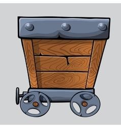 wooden mine cart vector image