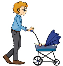 A man and baby pram vector image