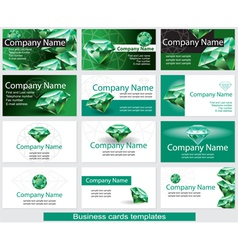 Set of business card template with emerald vector