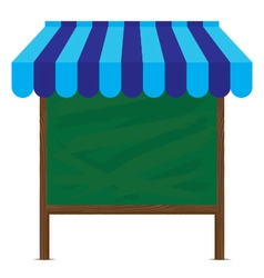 Wooden sign and blue awning with big green board vector
