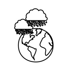 figure earth planet with clouds rainning icon vector image