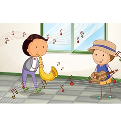 Two musicians playing near the window vector