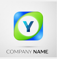 letter y logo symbol in the colorful square vector image