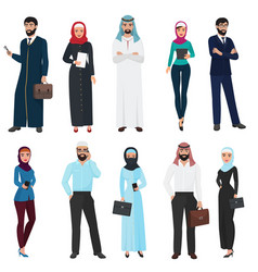 Muslim arabic business people arab office male vector