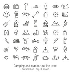 Camping and outdoor outline icons - editable line vector
