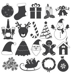 Black and white christmas icons set vector