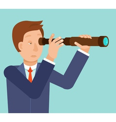 businessman looking for future trends through tele vector image